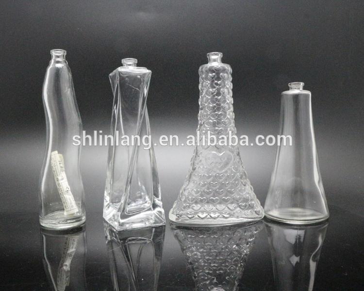 shanghai linlang unique transparent nice glass perfume bottle 4oz 16oz