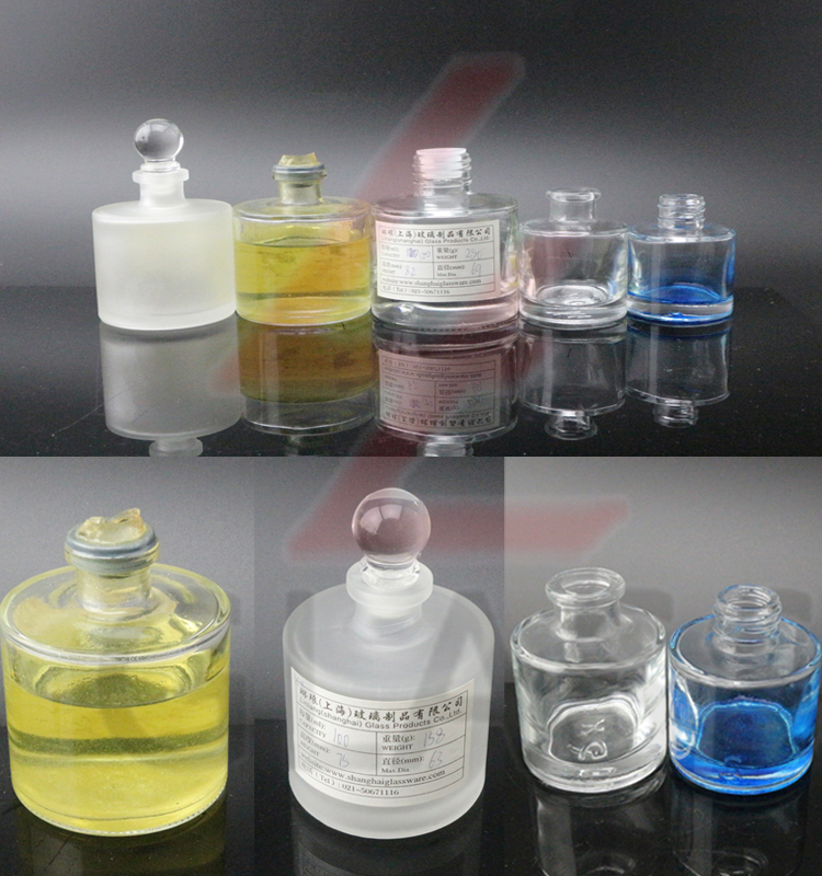 shanghai linlang High quality glass reed diffuser bottle with silver screw cap wholesale