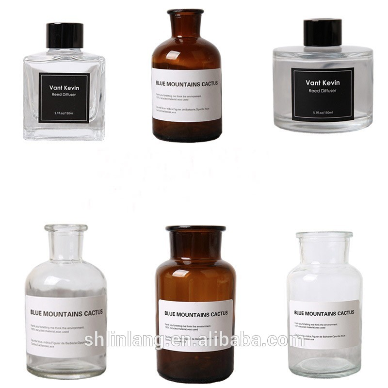Glass material 500ml 200ml 150ml 120ml 50ml round  fragrance reed diffuser oil refills 4oz 100ml square