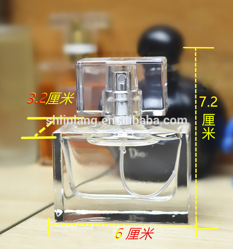 shanghai linlang 30ml rectangular glass perfume spray bottles with cap