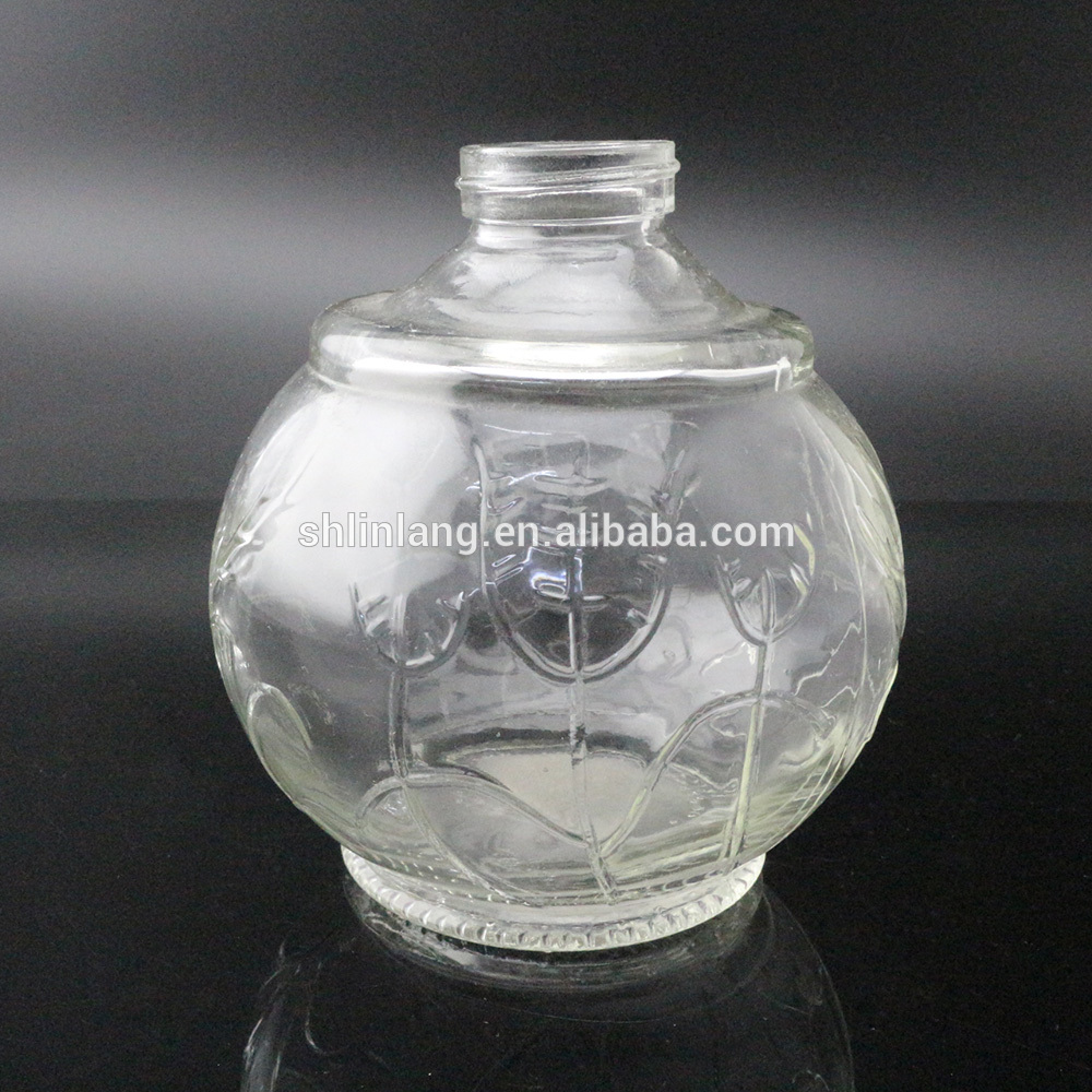 Factory direct sell round glass oil lamp with embossment