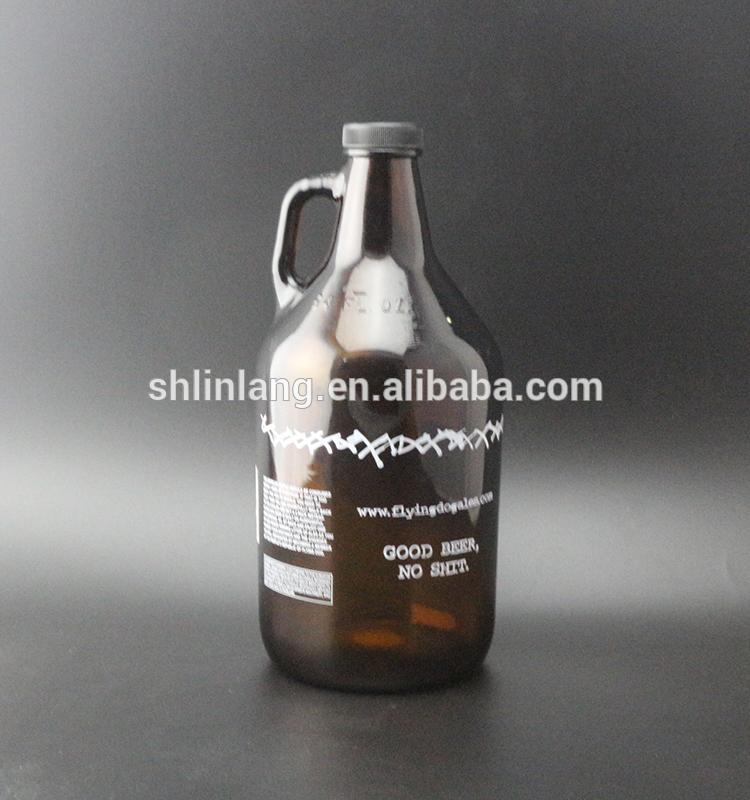 Shanghai Linlang Wholesale 64 oz Brown logo printed glass beer growler