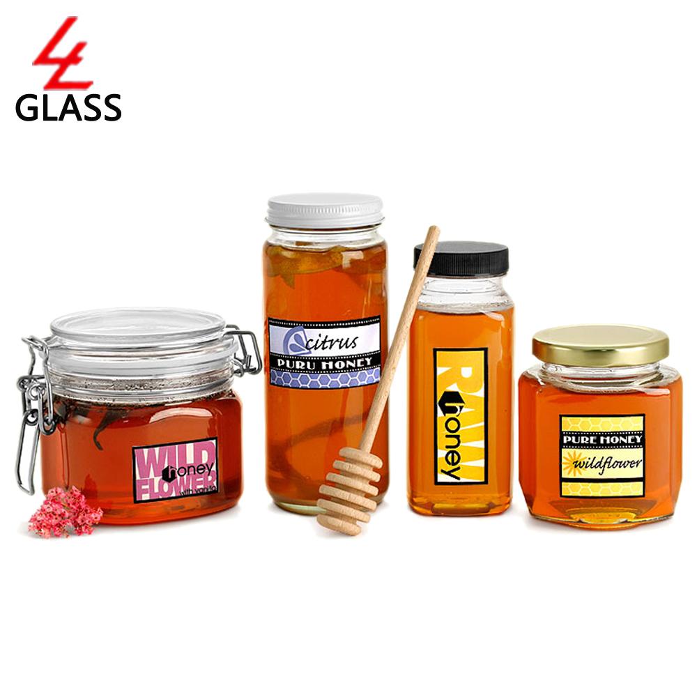 shanghai linlang hexagonal glass honey jar with black lid in bottles jars