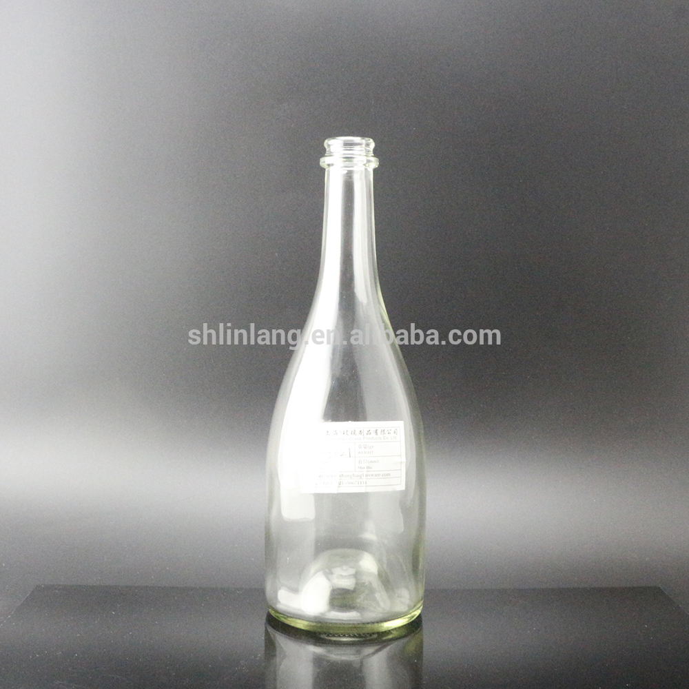 Shanghai Linlang wholesale factory price big belly clear glass champagne bottle