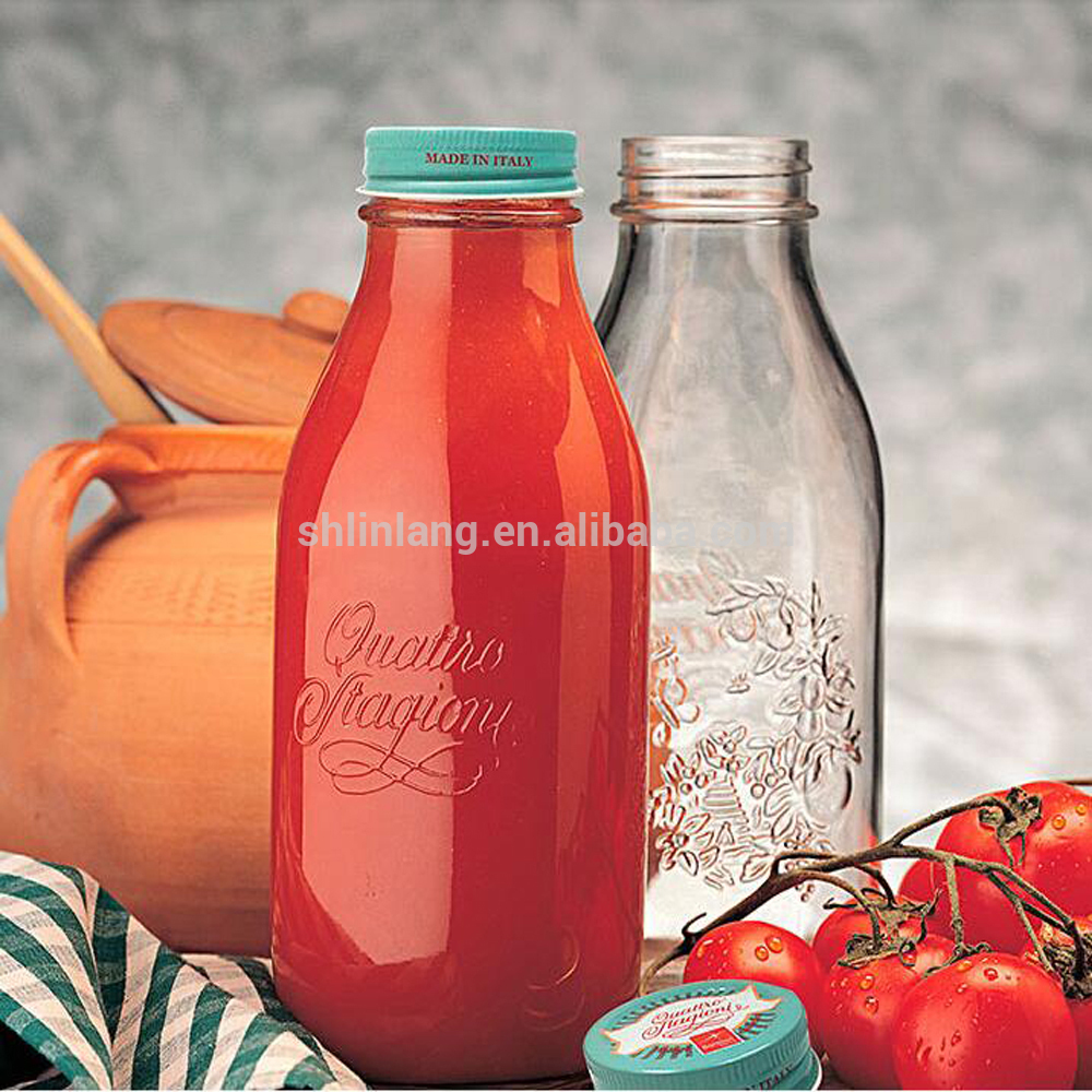 12OZ clear woozy french square glass juice bottle with metal screw cap
