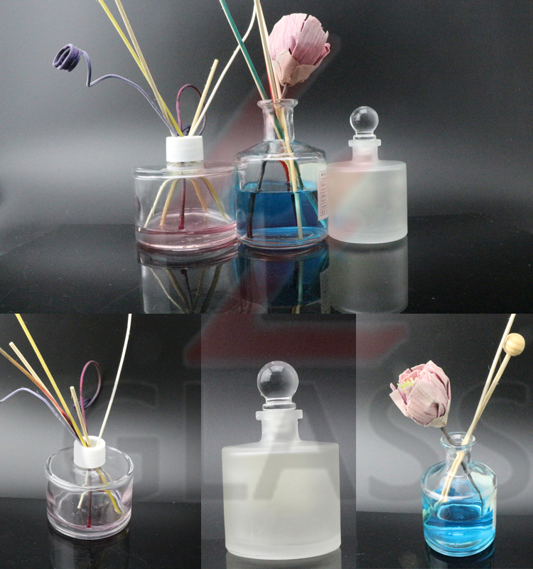 Glass material clear 200ml 150ml 120ml 100ml 50ml round reed diffuser glass bottle wholesale with sticks