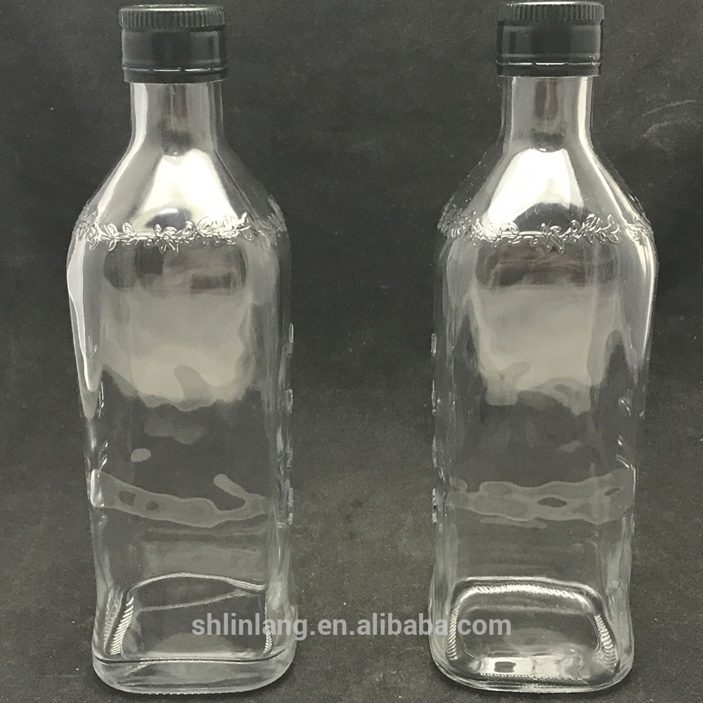 Shanghai linlang 2017 New Mould Emboss Olive oil glass bottle
