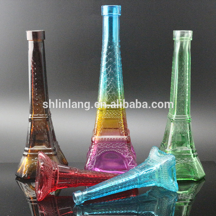 Wholesale Red Color Brown Color glass Eiffel Tower Vase For Decoration