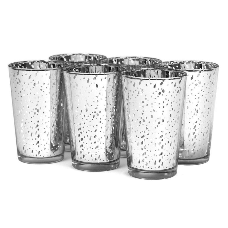 Linlang Wholesale 4 Inch Tall Mercury Votive Holder Silver Gold Mercury Glass Candle Holder