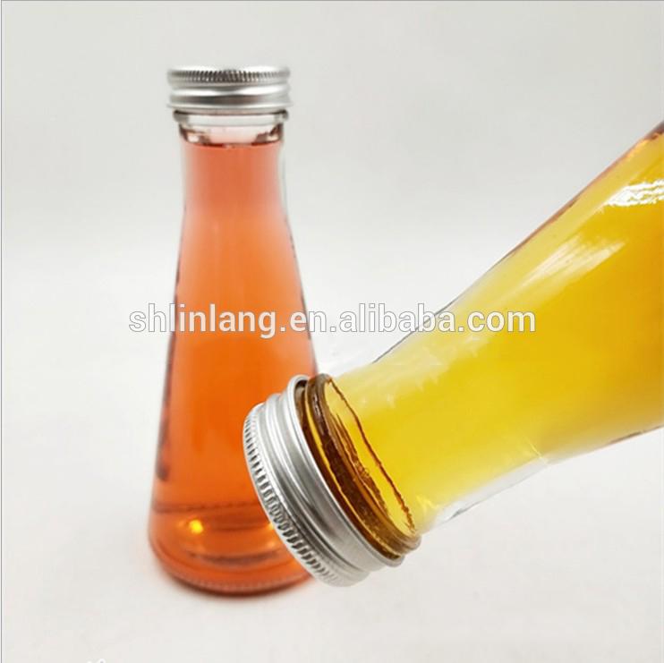 Custom Shape Cone Taper Shape 350ml 12oz Glass Fruit Juice Bottles for Sale