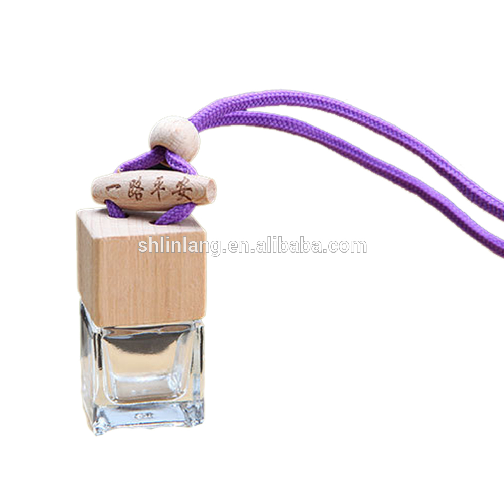 shanghai linlang High Quality 6ml square shape glass perfume hanging car diffuser bottle