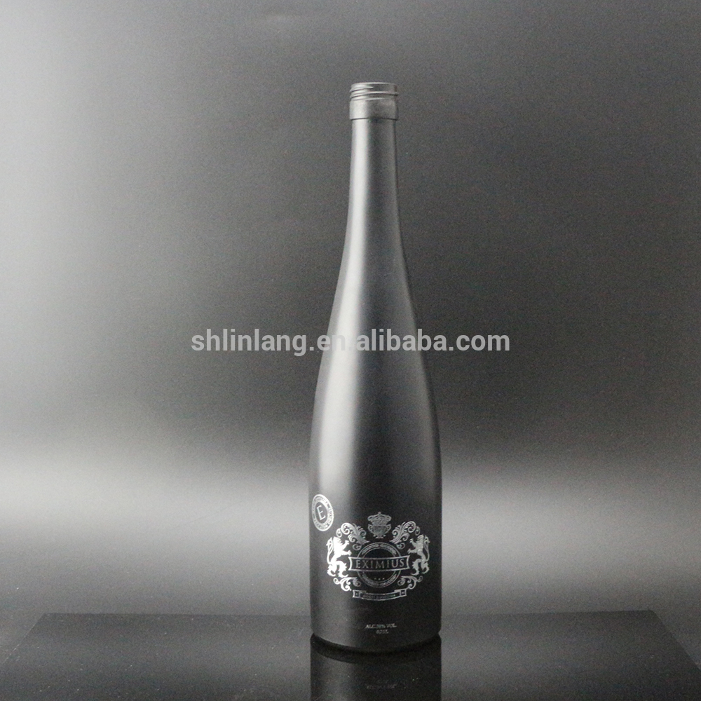 Shanghai Linlang wholesale gold stamping print matte black wine bottle