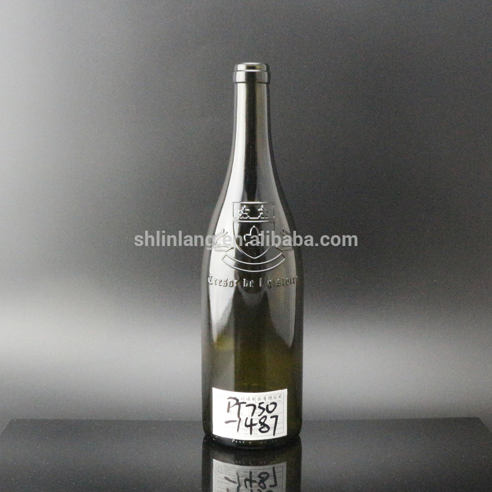 Shanghai Linlang Wholesale Burgundy 750 ml dark green wine bottle with Emboss Decoration