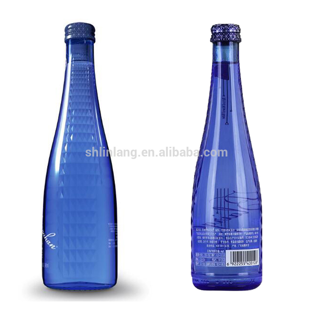 Custom frosted glass beverage bottles 350ml, glass drinking bottles with lids