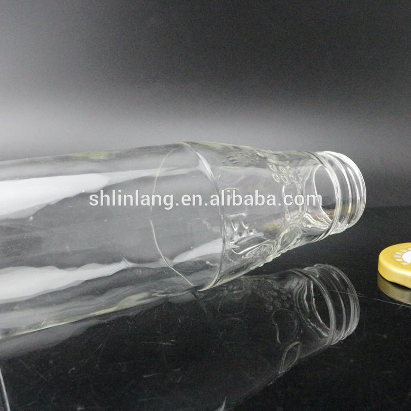 embossed logo glass bottle 500ml 450ml for beverage juice