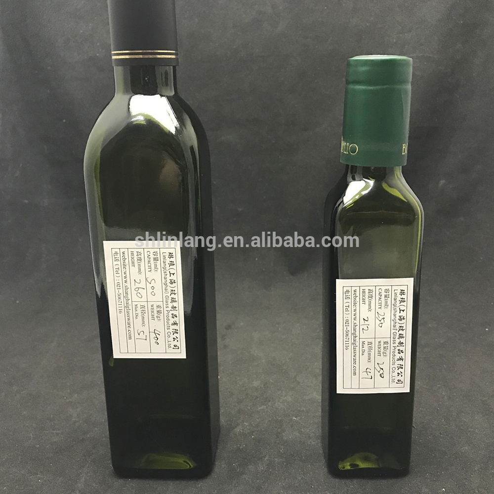 500ML Square Glass Olive Oil Bottle With Dark Green color