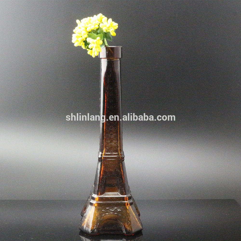 Wholesale Clear Brown Color glass Eiffel Tower Bottle For Decoration