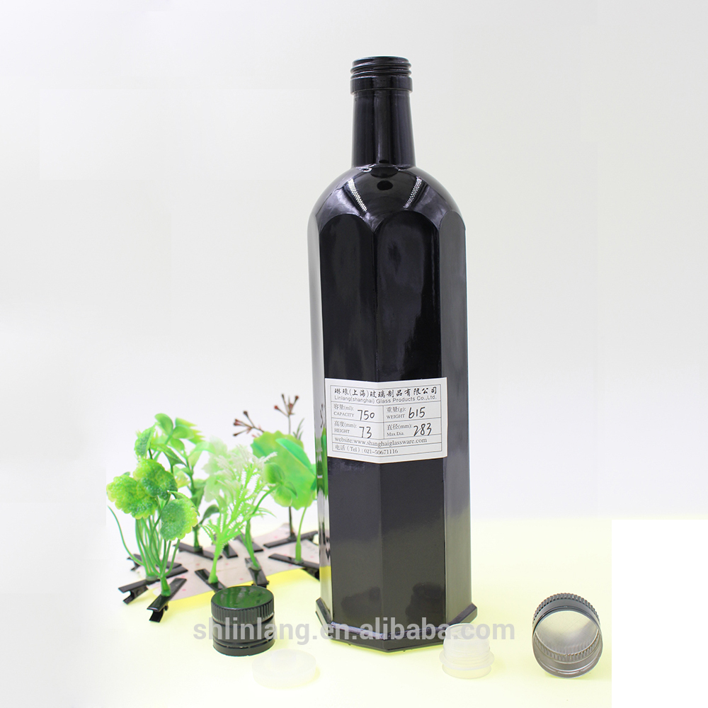 Shanghai linlang High-end Hexagon black olive oil bottle