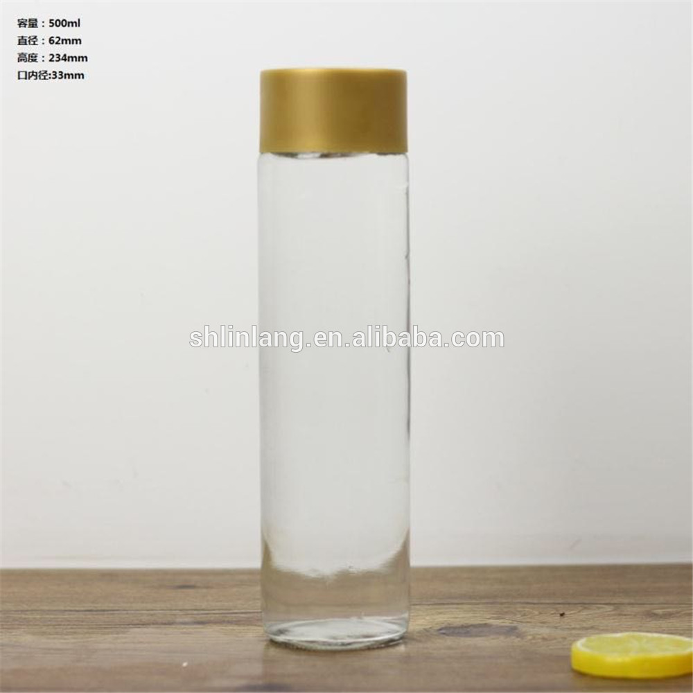 Linlang super star glass products stocked 500ml clear voss water glass bottle
