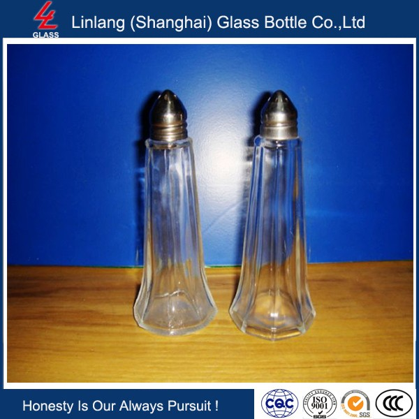 Linlang welcomed glassware products Salt and Pepper Grinder Set - Brushed Stainless Steel Top and Glass Bottle - Salt & Pepper M