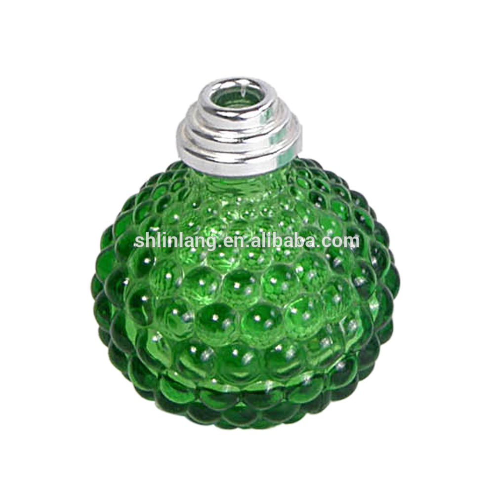 green color glass oil lamp with embossment