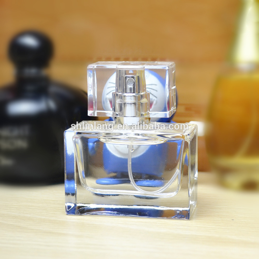shanghai linlang 30ml rectangular glass perfume spray bottles with cap