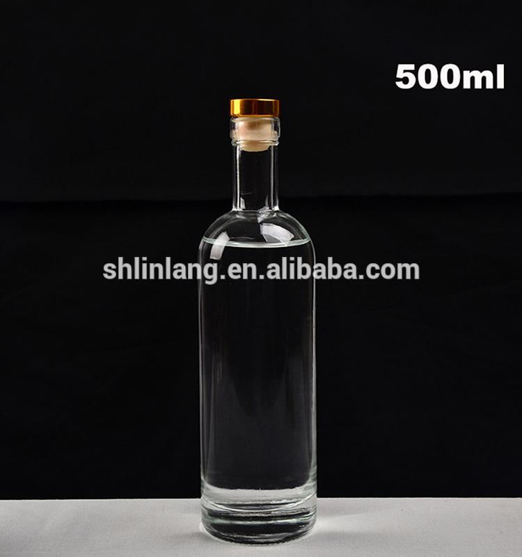 Shanghai linlang Custom 500ml Spirit Alcoholic Beverage Glass Flint Bottles With T Cork