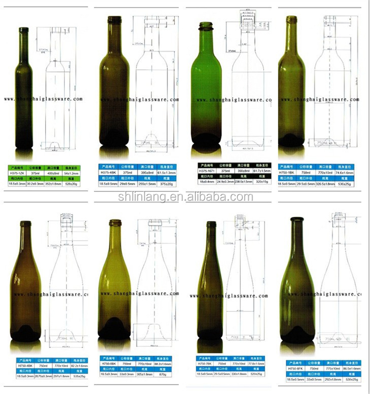 Shanghai Linlang Wholesale Burgundy 750 ml dark green wine bottle with Emboss Decoration