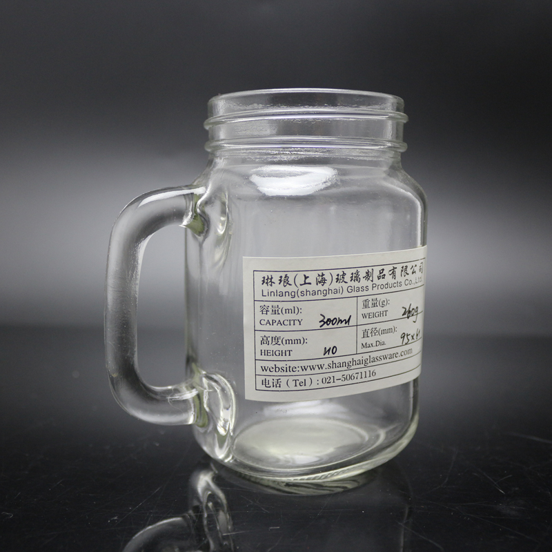 Hot sale 10oz bulk Glass mason jar with handles