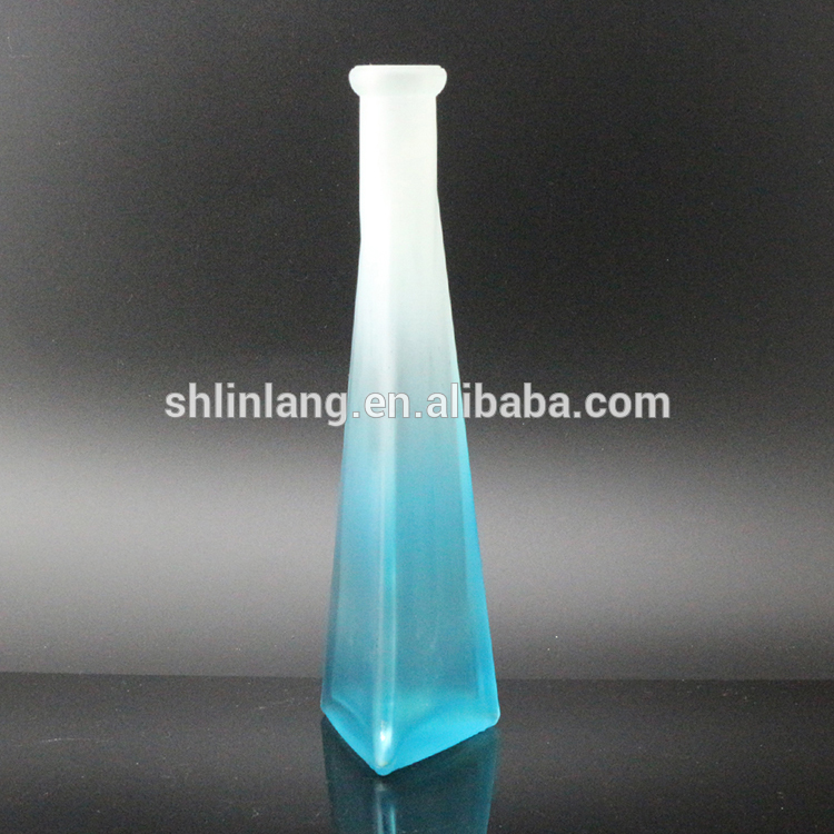 Triangular bottom frosted glass vase for house decoration