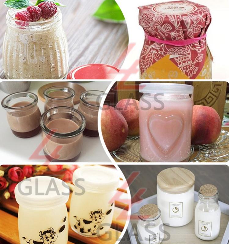 Shanghai linlang Striped fancy yogurt glass jar pudding jar with plastic cover