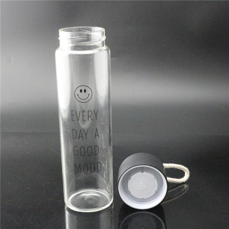 high transparent water bottle borosilicate glass 350ml