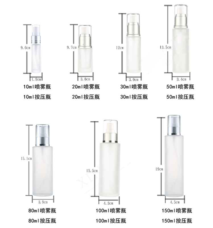 shanghai linlang stocks custom empty clear lotion glass bottle round shape glass container
