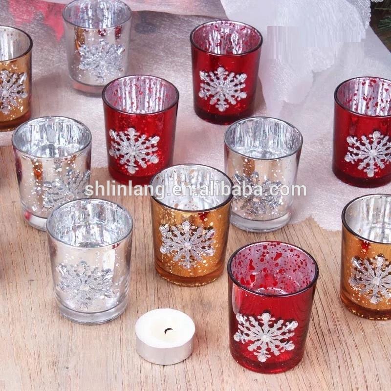 Shanghai Linlang Wholesale Christmas Decorative Glass Candle Holder Mercury Glass Votive Candle Holder