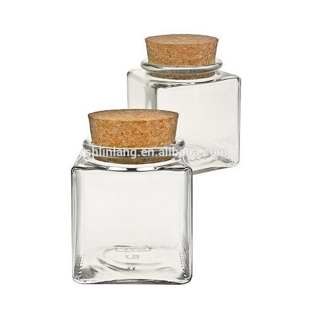 Linlang shanghai factory direct sale glassware products 100ml cork lid glass spice jar