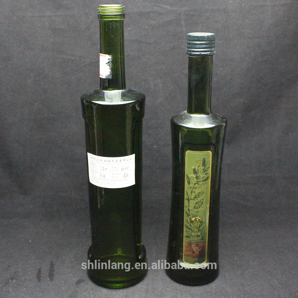 Shanghai linlang factory price Retro shape round olive oil bottle