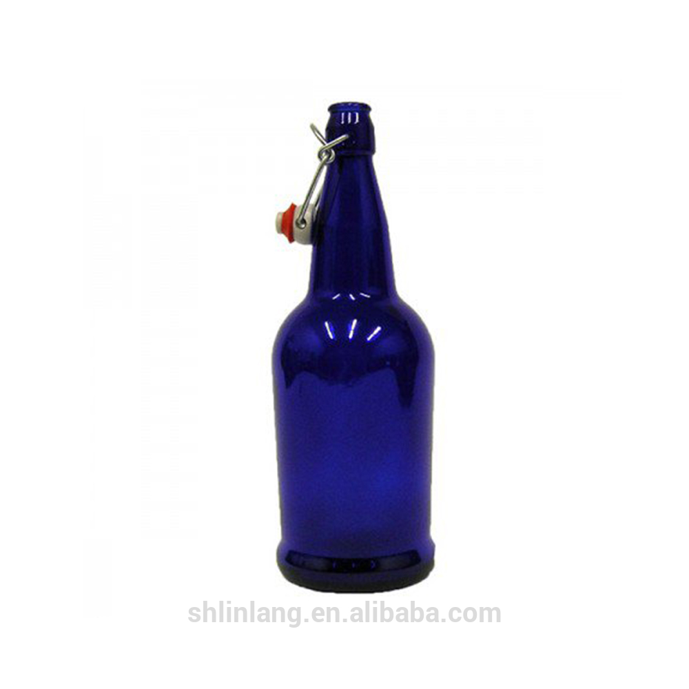Shanghai linlang Food Grade Blue Material Glass Beer Bottle