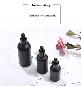 Hot Sale 30ml 50ml Matte Black Pump Bottle Glass Lotion Bottle Essential Oil Pump Bottle
