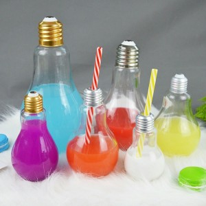 Ice cold drink glass bottle 400ml light bulb bottle glass for juice with golden lid and straw