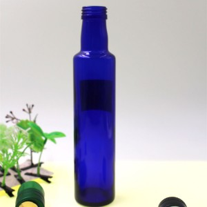 Mini Blue Olive Oil Glass Bottle 250ml Container