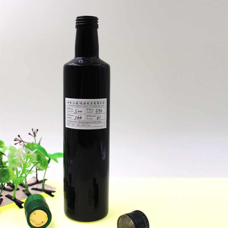 Wholesale Black Container Cylindrical Glass Olive Oil Bottle Featured Image
