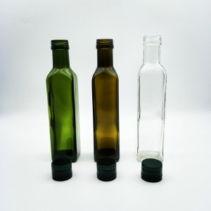 Wholesale Dark Green Brown Color Square Round Olive Oil Bottle