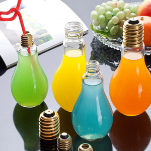 wholesale light bulb glass bottle used tableware storages for juice drink