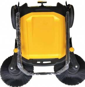 Yellow manual push sweeper machine