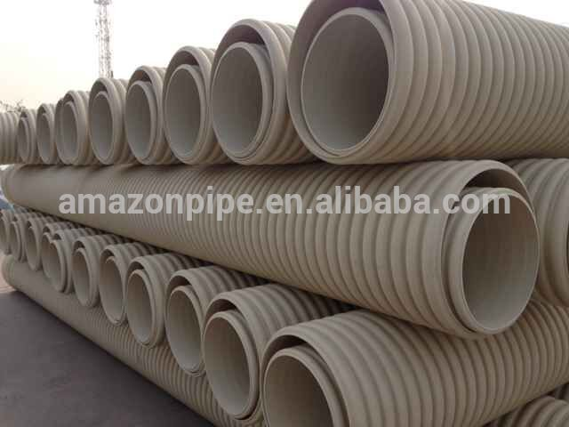 Underground plastic pvc corrugated pipe SN4 SN8 pipe for drainage and sewer