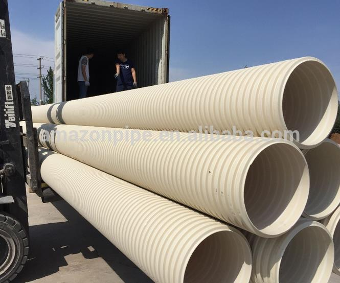 Low weight underground pvc corrugated plastic drainage pipe