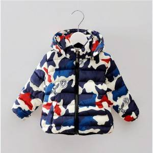 Fashion and warm winter baby down jacket children hoodie manufacturer military coats