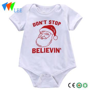 Christmas Romper Wholesale Baby Cotton Romper Short Sleeve Santa Clause Baby Onesie