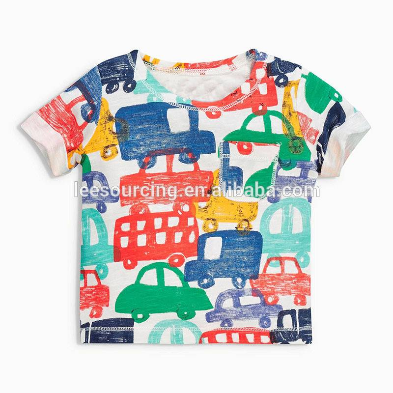 Western style baby 100% cotton t shirt infant clothing boy car printed t shirt printing kids outfits wear