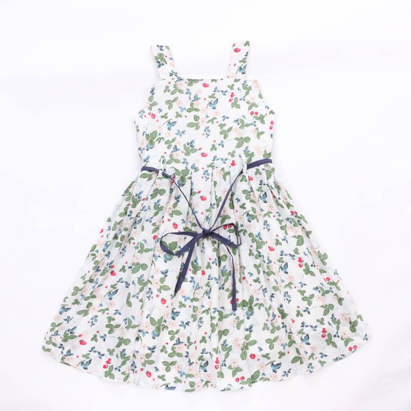Wholesale baby sweet style cotton flower printing kids dress